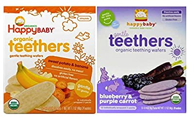 Happy Baby Organic Teethers Gentle Teething Wafers 2 Flavor Sampler Bundle: (1) Sweet Potato & Banana Teething Wafers, and (1) Blueberry & Purple Carrot Teething Wafers, 1.7 Oz. Ea. from Happy Family Brands