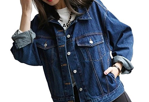 Minetom Giacca da Donna Giacca di Jeans Capispalla Outerwear Giubbino Corto Top Blu scuro IT 48