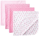 Gerber Baby-girls Newborn 4 Pack Flannel Receiving Blanket-Cat