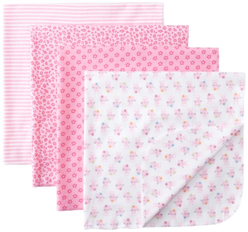Gerber Baby-girls  4 Pack Flannel Receiving Blanket-Cat, Pink, One Size