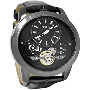 Fossil ME1126 Mens Grant Stainless Steel Case Leather Bracelet Black Skeleton Dial Watch