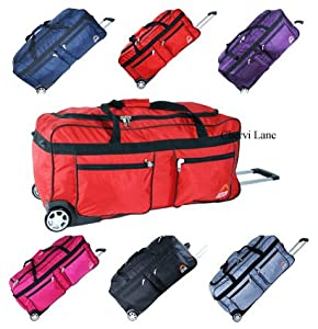 Unisex Extra Large 34 Wheeled Holdall Luggage Flight Travel Suitcase Weekend Bag Blacknavyredpinkpurplesilver Black