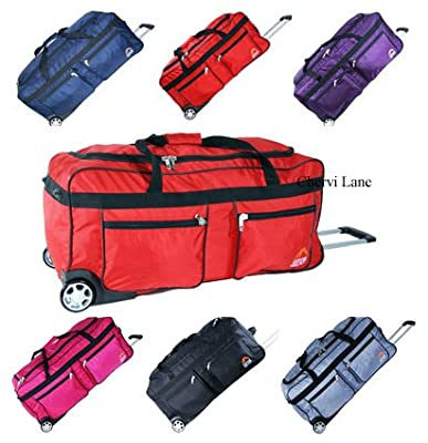 "Unisex Extra Large 34"" Wheeled Holdall Luggage Flight Travel Suitcase Weekend Bag (Black/Navy/Red/Pink/Purple/Silver) (Black)"