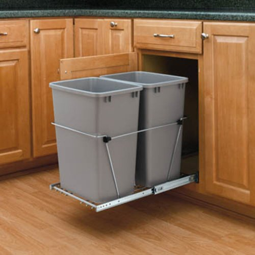 Rev-A-Shelf RV-15KD-17C S 27 Qt Double Pull-Out Waste Containers with Full Extension Slides, Metallic Silver