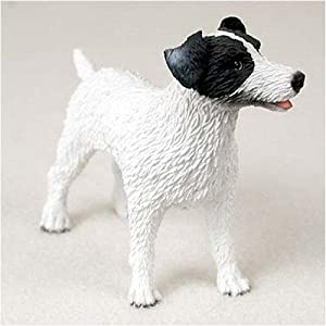 Jack Russell Terrier, Rough Coat, Black/White Original Dog Figurine (4in-5in)