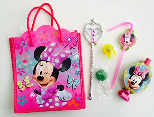 [8x Pack Minnie Goody Bags, Pre Made & Filled with Toys, Goodie, Filled Goody Bag / Loot Bag, Pencil; Eraser; Sharpener; LED ring; Princess Magic] (Disney Minnie Dream Party Blowouts)