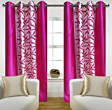 "Home Candy Eyelet Fancy Polyester 2 Piece Door Curtain Set - 84""x48"", Pink (SOE-CUR-175_175)"