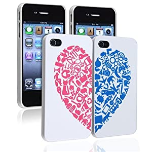 eForCity® Valentine's Day Gifts - Snap-on Case Compatible with Apple® iPhone 4 / 4S, White with Red / Blue Heart Rear x 2-Pack