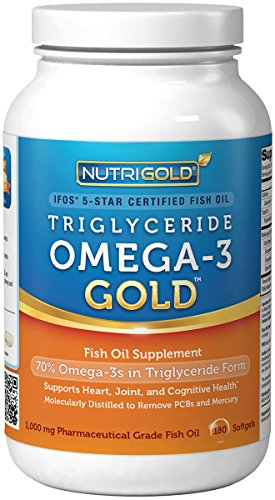 #1 Omega 3 Fish Oil Capsules Triglyceride Omega3 Gold, 1000mg, 180 Softgels The GOLD Standard, IFOS 5Star Certified Fish Oil Omega3 Supplement In Highly Absorbable Triglyceride Form