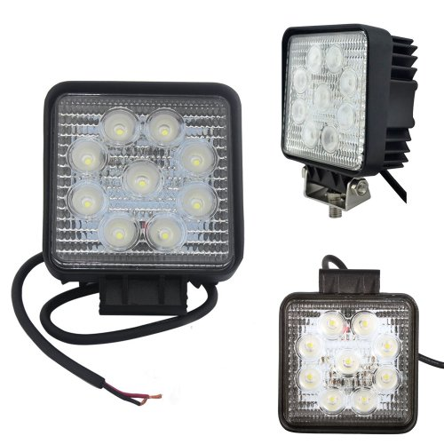 Woputuo 27W Square 9Pcs Led Work Light Lamp 9V-32V 1560 Lumen With 30 Degree Flood Driving Light,Waterproof Suitable For Most Cars Such As Off Road High Power Atv Jeep Cabin,Boat,Truck And Car