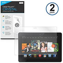 BoxWave Kindle Fire HDX 7 ClearTouch Crystal (2-Pack) Screen Protector - Premium Quality, Ultra Crystal Clear Film Skin to Shield Against Scratches (Includes Lint Free Cleaning Cloth & Applicator Card) - Kindle Fire HDX 7 Screen Guards and Covers