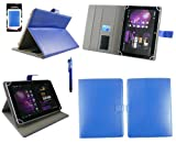 Emartbuy® Blue Stylus + Universal Range Blue Multi Angle Executive Folio Wallet Case Cover With Card Slots Suitable for HP Slate 10 HD