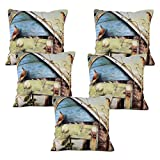 Story @ Home Brown Designer Digital Print Cushion Cover Set Of 5 Pcs