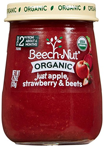 Beech-Nut Just Organic Stage 2 Purees - Just Apple, Strawberry & Beets - 4.25 Oz - 10 pk