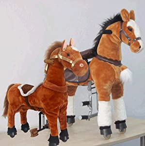 UFREE Large mechanical ride on horse PLUS Small rocking horse BUNDLE (Large and Brown without armor)