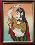 Lady Looking in to Mirror, Gem Stone Art Painting, Handicraft