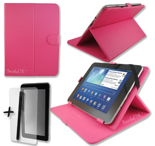"Rose PU Lederner Tasche Case Hülle für Point of View ProTab 2 IPS 9.7"" 9.7 Zoll Inch Tablet-PC + Bildschirmschutzfolie + Stylus Stift (schutztasche / decken / cover / stehen / displayschutzfolie)"