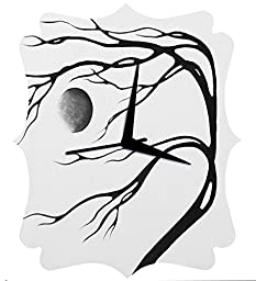 RANGRAGE Designer Handpainted Wooden Decorative Quaterfoil Kid\'s Wall Clock Colorful Clock Kid\'s Room Home Decoration White Moon