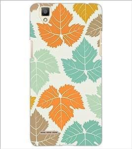 PrintDhaba Leaves Design D-1444 Back Case Cover for OPPO F1 (Multi-Coloured)