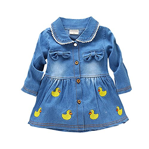 WANGSAURA Baby Girl' Long Sleeve Denim Dress Peter Pan Collar Duck Ruffle Skirt