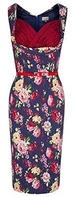 Lindy Bop 'Vanessa' Elegant Floral Print Vintage 50's Wiggle Dress