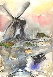 1 0 x 7, Wind mill landscape with mist and a boat, watercolor original by Andrejs Bovtovics.