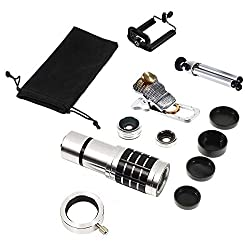 Mobilegear 4 in 1 universal Mobile Camera Lens with 12X Zoom, Macro, Wide Angel, Fish Eye with Free Tripod & Attachment