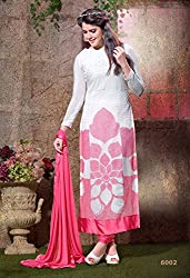Shree Khodal Women's White Georgette Dress Material [SK_JCN1033_E]