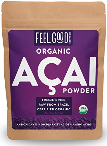 Organic ACAI Powder (Freeze-Dried) - 4oz Resealable Bag - 100% Raw Antioxidant Superfood Berry From Brazil - by Feel Good Organics (Acai Yogurt compare prices)