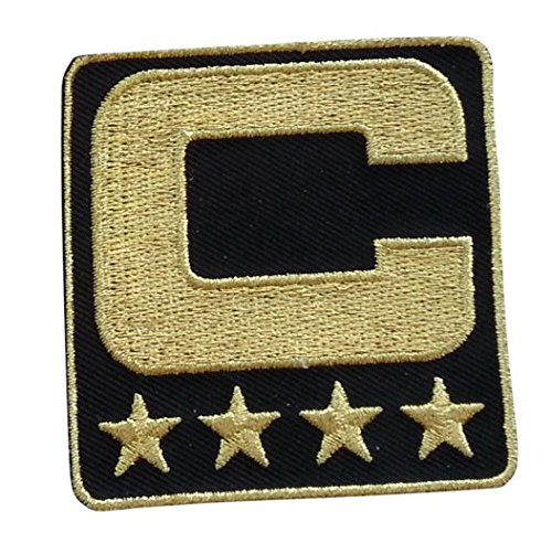 Black Captain C Patch (All Gold) Iron On For Jersey Football, Baseball. Soccer, Hockey, Lacrosse, Basketball