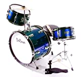 De Rosa DRM316-BU Junior 3 Piece 16 Inch Drum Set with Chair,