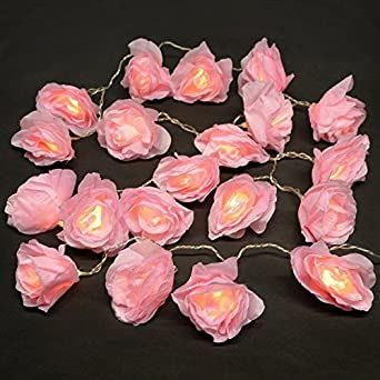 Battery Operated Festive 20 LED Pink Rose Flower Christmas Fairy String Lights