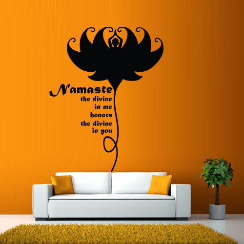 Wall Decal Vinyl Sticker Decals Art Decor Design Namaste Lotus Devine Honor Words Soul Buddha Indian Yoga Modern Bedroom (M1291) front-758454