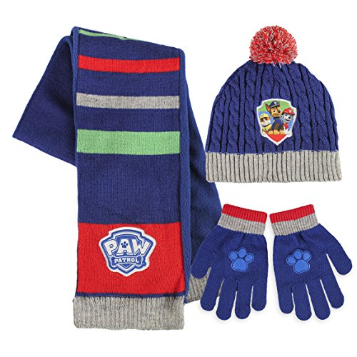 Paw Patrol - Childrens Winter Set includes Beanie Hat Gloves and Scarf (One Size)