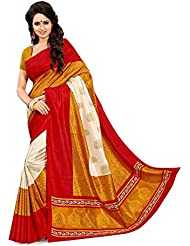 Vivera Women's Georgette Saree With Blouse Piece(VRKABALI_RED_Black)