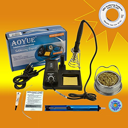 Aoyue 469 Kit includes 60 Watt Soldering Station, Solder Wire, Flux, Fast Chip Removal Alloy, Tip Cleaner, Desoldering Pump and Solder Wick (Solder Removal Station compare prices)