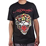 Ed Hardy Mens Tiger Tattoo Graphic Tee Shirt - Black - Medium