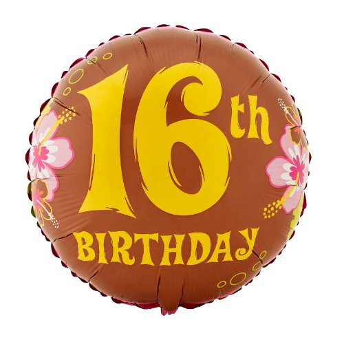 "Aloha 16th Birthday 18"" Foil Balloon - 1"