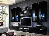 LYRA-BMF-cm-deutscher-Stil-Modern-MATT-Hochglanz-Entertainment-Wohnwand-Wohnzimmer-Schlafzimmer-Mbel-Set-STUDIO-flach-LED-Schrnke-nur-von-BMF-schwarz