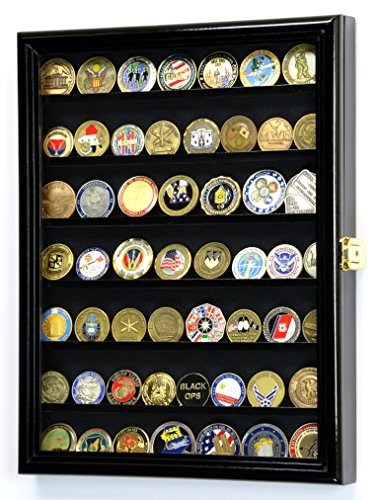 Military-Challenge-Coin-Display-Case-Cabinet-Rack-Holder-Stand-Box-w-UV-Protection-Black