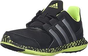 adidas Performance Hyperfast 2.0 K Running Shoe (Little Kid/Big Kid), Black/Neo Iron Metallic/Electricity, 12.5 M US Little Kid