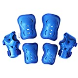 Kids Roller Blading Wrist Elbow Knee Pads Blades Guard 6 PCS Set in blue