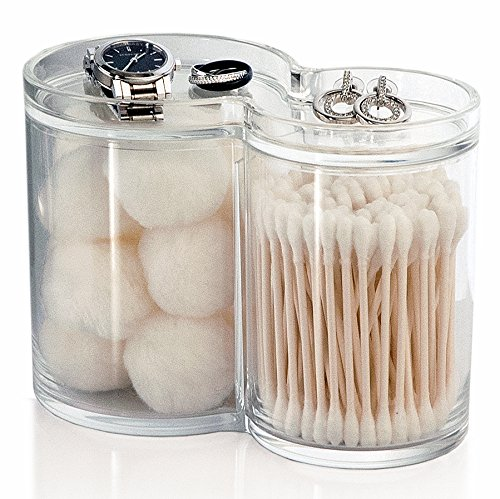 Large cotton ball swab q tip holder clear round cosmetic for Clear bathroom containers
