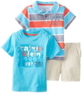 Calvin Klein Baby-Boys Infant Stripes Polo Top with Tee and Short from Calvin Klein
