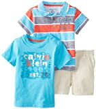 Calvin Klein Baby-Boys Infant Stripes Polo Top with Tee and Short