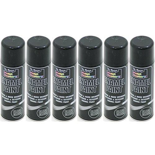 new-6-x-250-ml-enamel-spray-paint-black-gloss-250ml-radiator-metal-wood-tough-sprays-pack-set-of-6