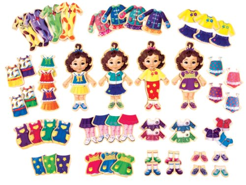 T.S. Shure Teeny Tiny Quadruplets Wooden Magnetic Dress-Up Dolls