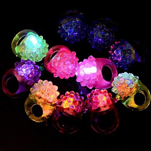 Top Plaza 12X Flashing Led Bumpy Rings Blinking Soft Jelly Glow