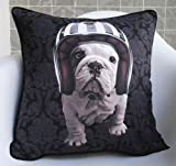 New Fashion Black Bull Dog with Helmet Pop Art Pillow Case Decorative Cushion Cover Throw Sham