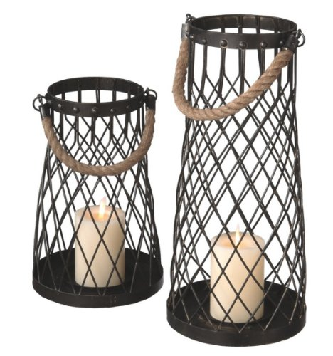 Set of 2 Nautical Inspired Wire Pillar Candle Holder Lanterns with Rope Handles